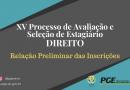 XV PROCESSO SELETIVO PARA ESTÁGIO NA ÁREA DE DIREITO  EDITAL Nº 02/2020